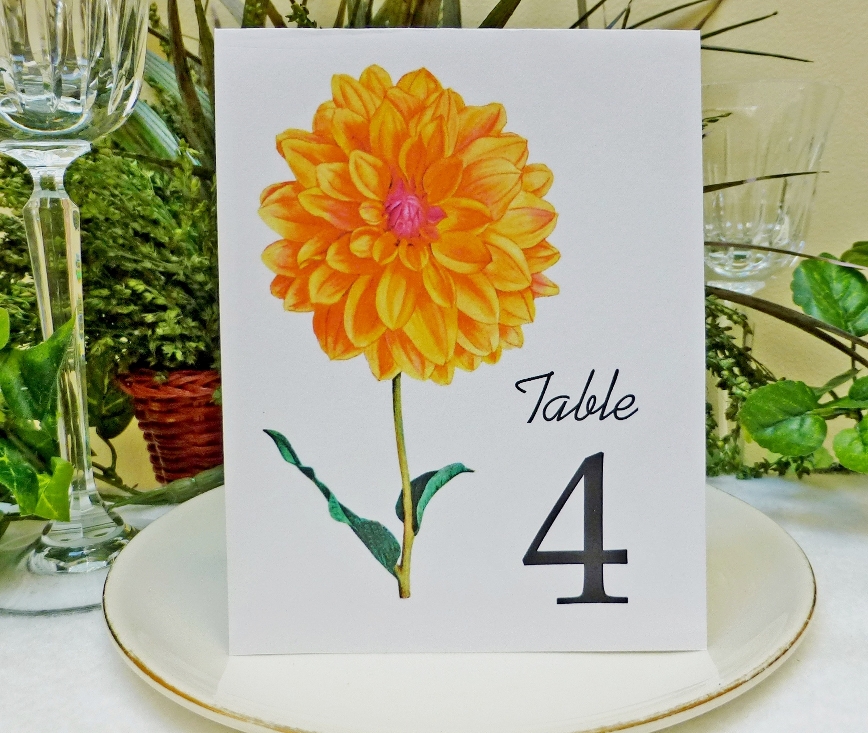 Wedding Table Card Floral Table Card Wedding Table Number Wedding - Wedding table tents